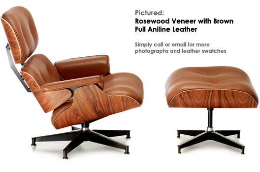 Brown leather eames chair