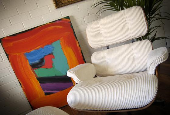 Corduroy lounge chair