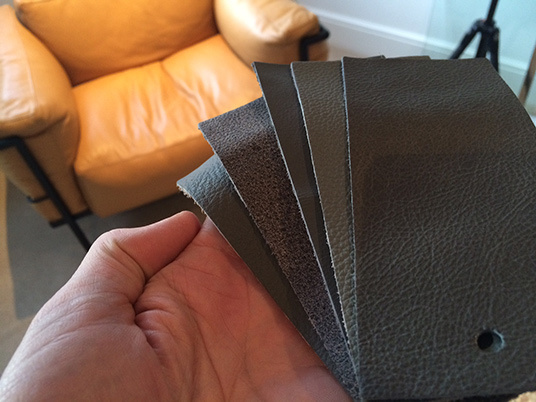 Grey leather lc3 chair01