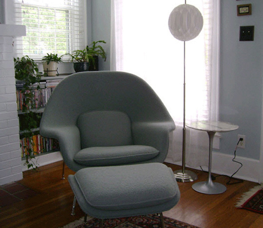 Grey womb chair