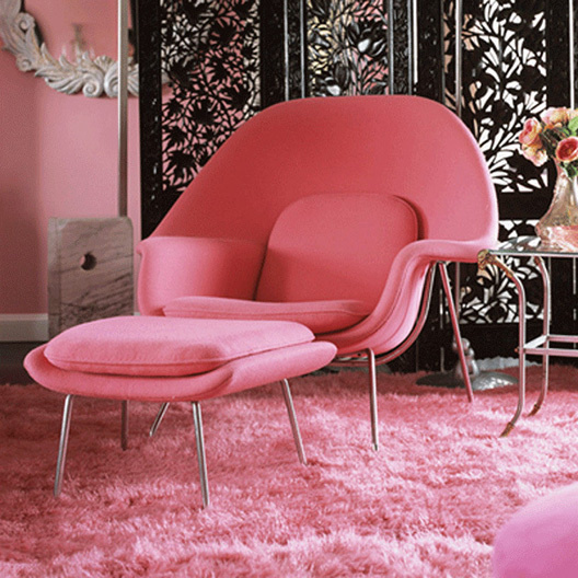 Pink womb chair