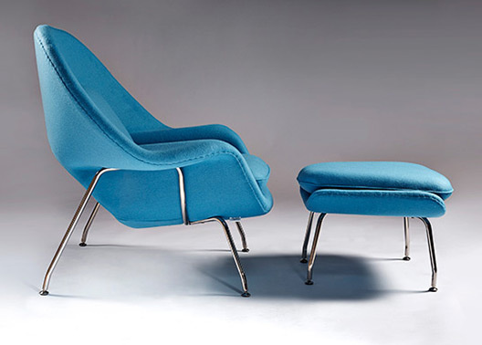 Womb chair blue fabric