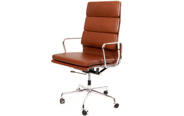 Photograph of Eames Style EA219 Soft Pad High Back Executive Office Chair On Castors