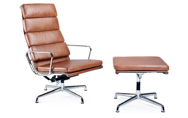 Photograph of Eames Style Soft Pad EA222 Chair and EA223 Ottoman
