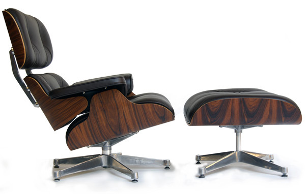 Photograph of Eames Style Lounger & Ottoman with aluminium polished base
